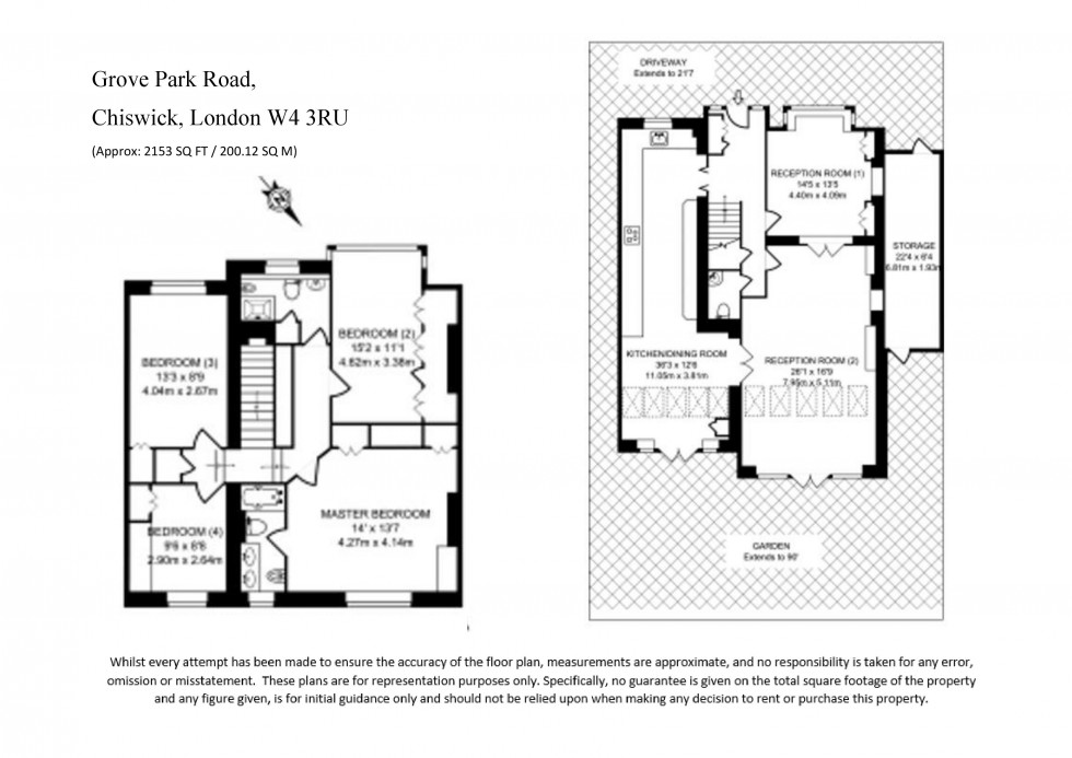 Floorplan for Grove Park Road, Chiswick